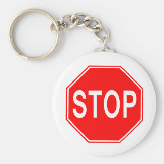 Stoppschild - Keychain Standard Runder Schlüsselanhänger