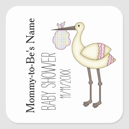 Storch Baby Duschen Rosa Personalisierte Aufkleber