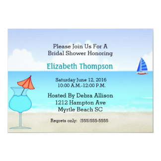 Strand-Brautparty-Einladung 12,7 X 17,8 Cm Einladungskarte