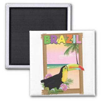 Strand-Feiertagsplakat Brasiliens Toucan Quadratischer Magnet