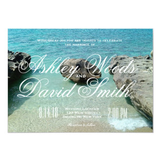 Strand-Felsen-Hochzeits-Einladung Karte