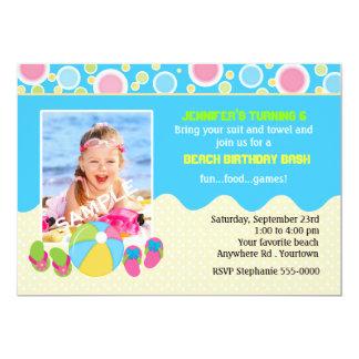 Strand-Geburtstags-Foto 12,7 X 17,8 Cm Einladungskarte