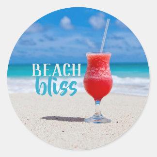 Strand-Glücks-Sandy-Strand-tropisches Cocktail Runder Aufkleber