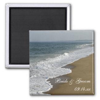 Strand-Hochzeit Quadratischer Magnet
