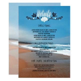 Strand-Hochzeits-Detail-Informationen - Einsatz 11,4 X 15,9 Cm Einladungskarte