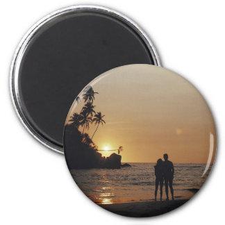 Strand-Hochzeits-Einladung Runder Magnet 5,7 Cm