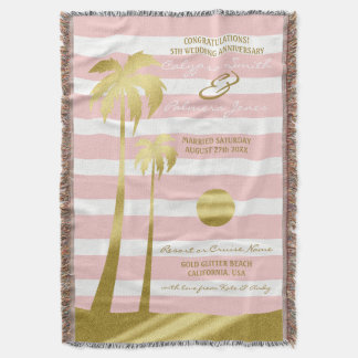Strand-Hochzeits-GoldGlitter-Palme-rosa Streifen Decke