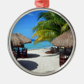 Strand-Hütten-Palme-aquamarines Wasser Vaca Rundes Silberfarbenes Ornament