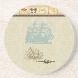 Strand-Hütten-Seekarten-Vintages Rosette-Schiff Untersetzer