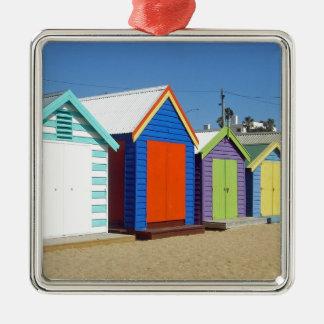 Strand-Kasten-Hütte Melbourne Australien Quadratisches Silberfarbenes Ornament