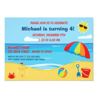 Strand-Kindergeburtstag-Einladung Karte