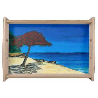 Strand-Malerei-Hostessen-Serviertablett Tablett