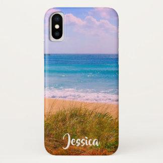 Strand mit Dünen-personalisiertem Namen iPhone X Hülle