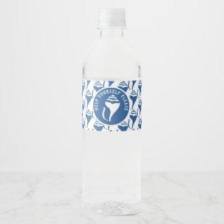 Strand-Muschelmuster Wasserflaschenetikett
