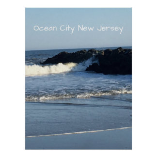 Strand-Ozean-Stadt New-Jersey Poster