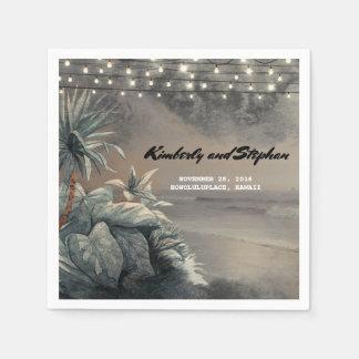 Strand-Palmen-Licht-Vintage Hochzeit in Urlaubsort Serviette