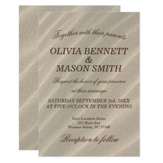 Strand-Sand-strukturierte Hochzeits-Einladung 8,9 X 12,7 Cm Einladungskarte