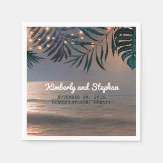 Strand-Sonnenuntergang und Palmen-Licht-Hochzeit Servietten