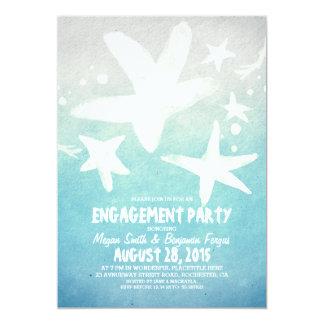 Strand-Verlobungs-Party Watercolor Starfish blaues 12,7 X 17,8 Cm Einladungskarte