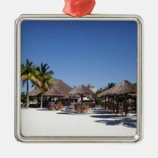 Strandhütten Quadratisches Silberfarbenes Ornament