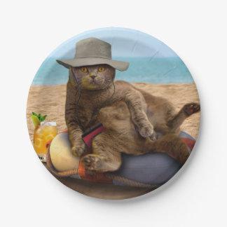Strandkatze - summercat - graue Katze - Pappteller