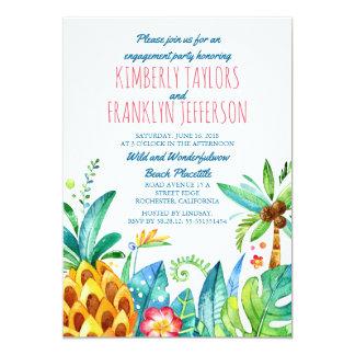 Strandpalmenananas Watercolor-Verlobungs-Party 12,7 X 17,8 Cm Einladungskarte