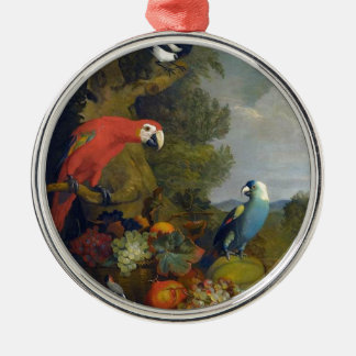 STRANOVER Tobias Macawsvogeltier-Fruchtnatur Rundes Silberfarbenes Ornament