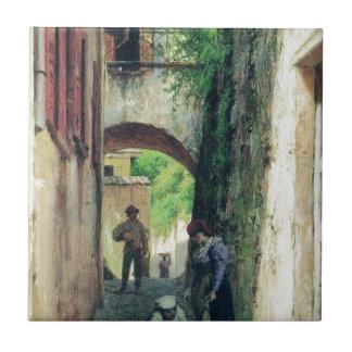 Straße in Italien durch Fyodor Bronnikov Keramikfliese