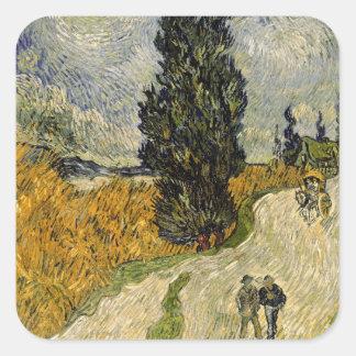 Straße Vincent van Goghs | mit Zypressen, 1890 Quadratischer Aufkleber