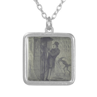 Straßen-Szene. Zwei Charaktere auf der Rückseite Halskette Mit Quadratischem Anhänger