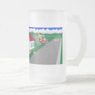 Straßen und Hausbau Matte Glastasse