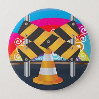 Straßenarbeiten Runder Button 10,2 Cm