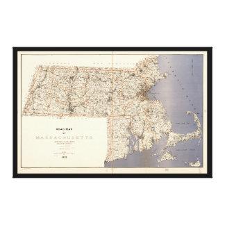 Straßenkarte von Massachusetts (1922) Leinwanddruck