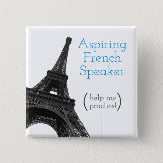 Strebender französischer niedlicher Eiffel Turm Quadratischer Button 5,1 Cm