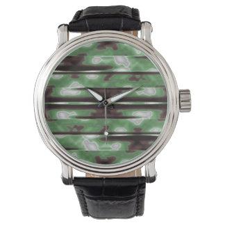 Streifen-Camouflage-Muster-Druck Armbanduhr