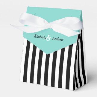 Streifen-Schwarzweiss-Band-blaues Geschenkschachteln