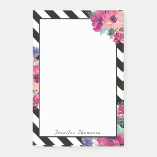 Stripes and Floral Pattern with Your Name