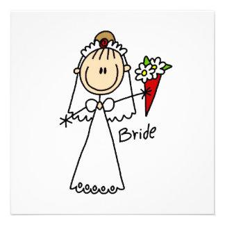 Strichmännchen-Braut-T-Shirts und Geschenke Individuelle Einladung