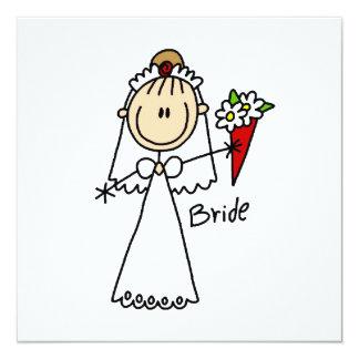 Strichmännchen-Braut-T-Shirts und Geschenke Quadratische 13,3 Cm Einladungskarte