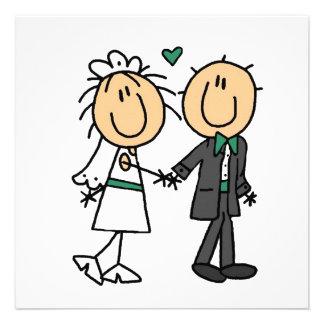 Strichmännchen-Braut und Bräutigam-T-Shirts und Personalisierte Einladungskarte
