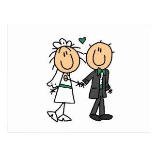 Strichmännchen-Braut und Bräutigam-T - Shirts und Postkarte