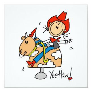 Strichmännchen-Cowgirl Yee Haw-T - Shirts und Ankündigungskarte