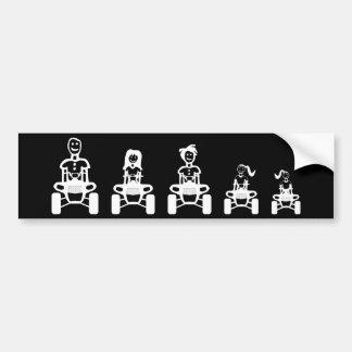 Strichmännchen-Familie auf ATVs Autoaufkleber