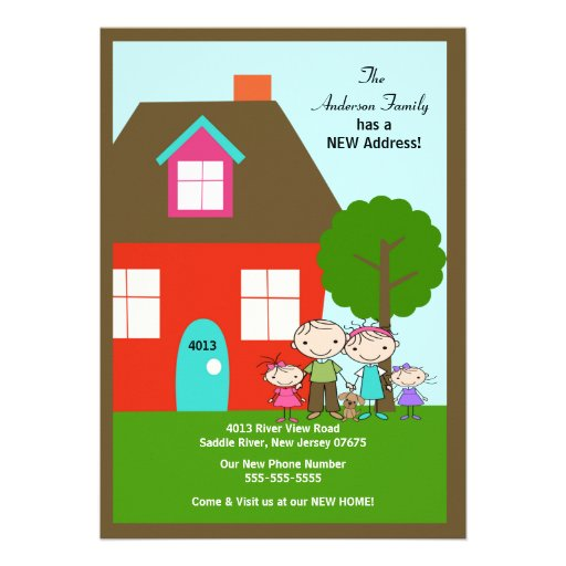 Strichmännchen-Familie mit Hund~ beweglicher Einladungskarten