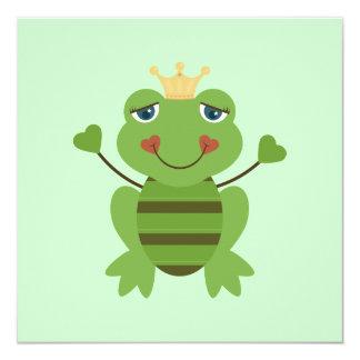 Strichmännchen-Frosch-Prinz Quadratische 13,3 Cm Einladungskarte