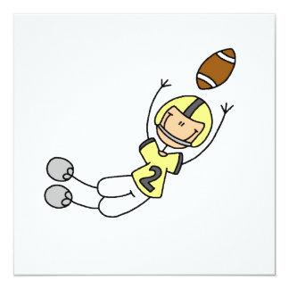 Strichmännchen-Fußball-Gelb Quadratische 13,3 Cm Einladungskarte