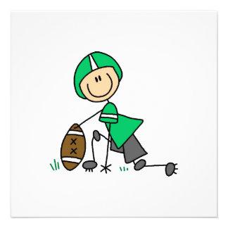 Strichmännchen-Fußball-Grün Personalisierte Einladungskarte
