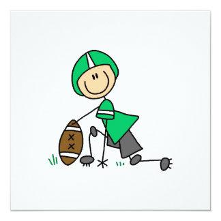 Strichmännchen-Fußball-Grün Quadratische 13,3 Cm Einladungskarte