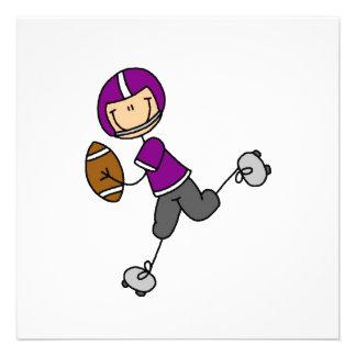 Strichmännchen-Fußball lila Einladungskarte