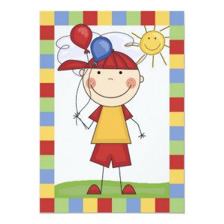 Strichmännchen-Junge mit Ballon-Geburtstag laden 12,7 X 17,8 Cm Einladungskarte